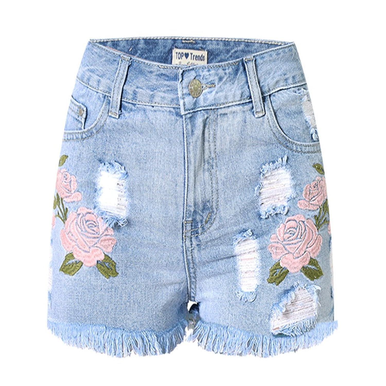 Enlishop Women Fashion Flower Embroidered Slim Fit High Waist Denim Shorts Blue