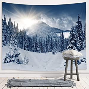 JAWO Winter Landscape Tapestry Wall Hanging, Snow Mountain Pine Fir Forest Sunrise Christmas Premium Tapestries for Dorm Living Room Bedroom, Wall Blanket Beach Towels Home Decor 71X60 Inches
