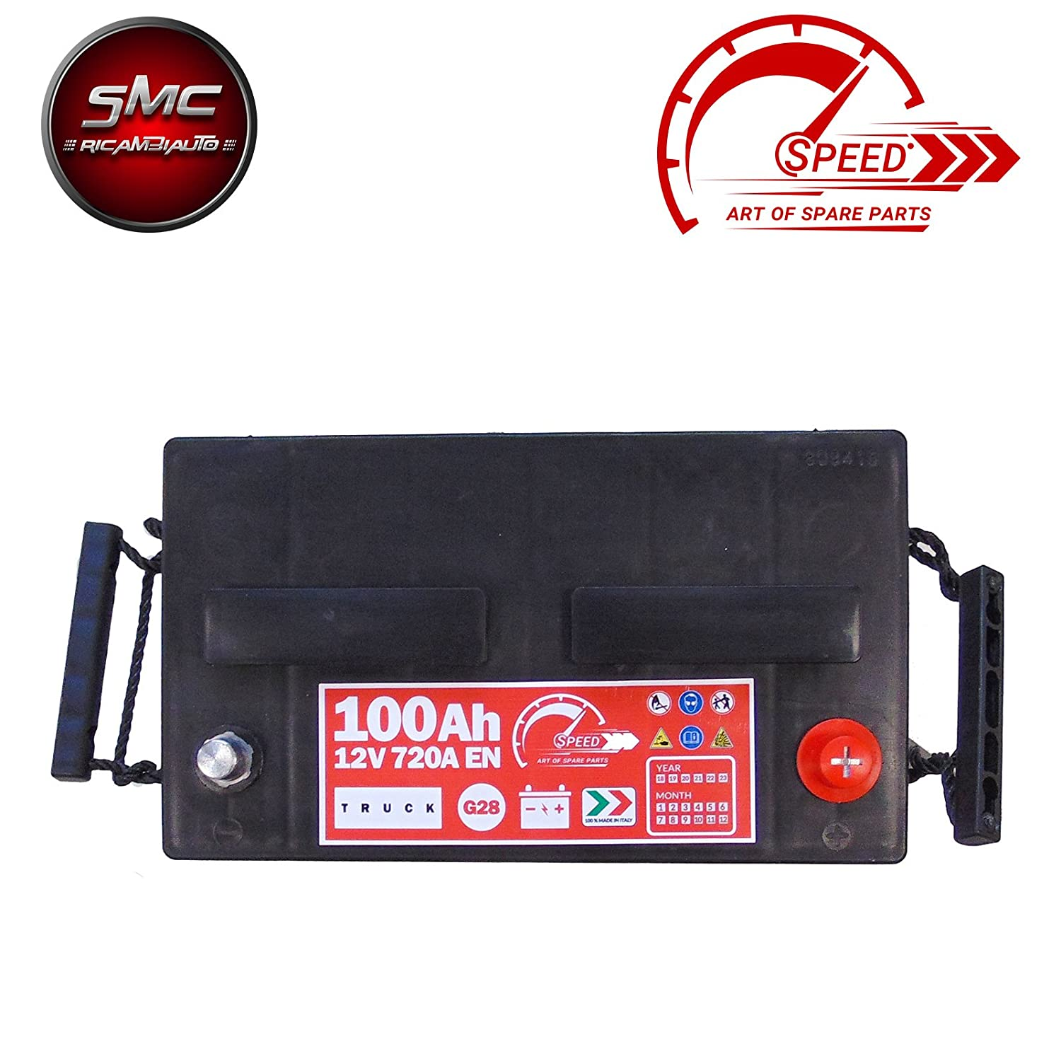 BATTERIA TRUCK ORIGINALE SPEED BY SMC G28100 12V 100AH 720A EN CON POLO POSITIVO A DESTRA