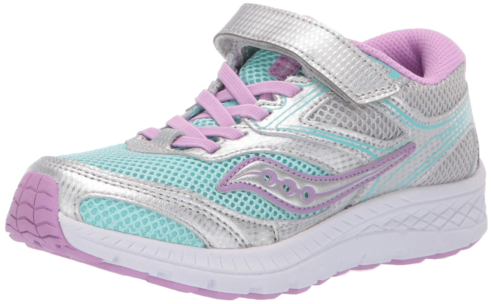 Saucony Unisex Cohesion 12 A/C Sneaker, Turquoise/Silver, 1.0 Wide US Little Kid
