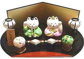 【 ねこのひな祭りセット 】 かわいい猫の雛人形です 【陶器製_手描き
