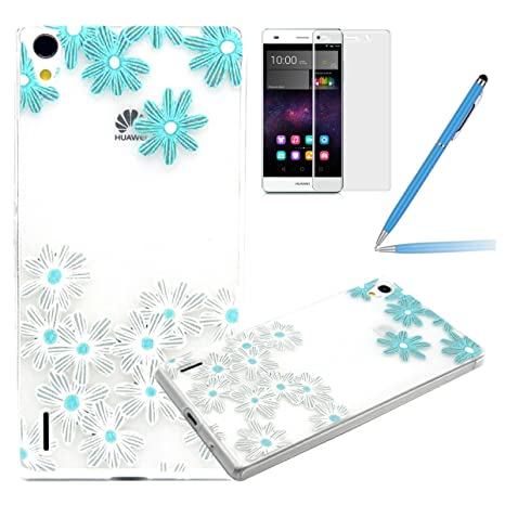Huawei Ascend P7 Funda,Huawei P7 Carcasa - Felfy Huawei Ascend P7 Beautiful White and Blue Flowers Patrón Transparente Claro Cristal Diseño Ultra Fina ...