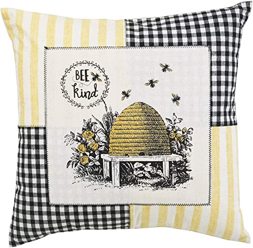 Comfy Hour Spring Flower Bee Kind Beehive Accent Pillow Throw Pillow Decorative Cushion 18x18