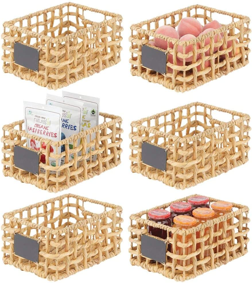 mDesign Water Hyacinth Open Weave Kitchen Cabinet Pantry Basket with Built-in Chalkboard Label for Snacks, Produce, Vegetables, Pasta - Food Safe - 6 Pack - Natural