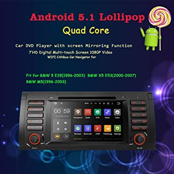 Android 5.1 Lollipop coche estéreo para BMW E39 E53 M5 X5 coche Radio Audio Quad Core