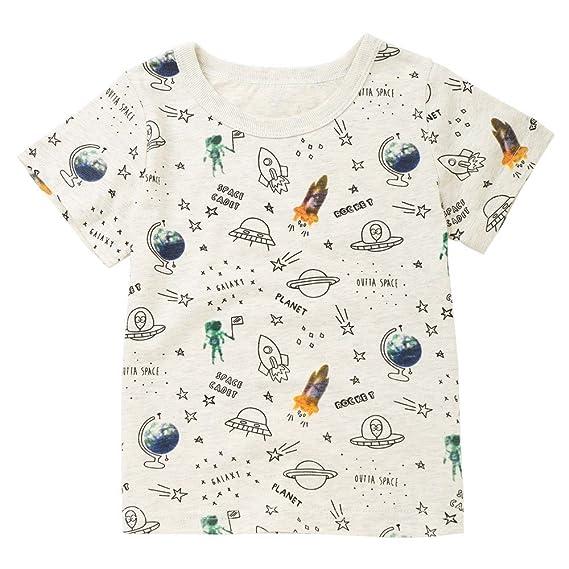 Ropa de Bebés❤️️Lonshell Camisetas de Espacio y Cohete Tops de Estrella y Letra Camisetas