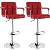 WOLTU #1080 Design Barhocker mit Armlehne, 2er Set, stufenlose Höhenverstellung, verchromter Stahl, Antirutschgummi, pflegeleichter Kunstleder, gut gepolsterte Sitzfläche