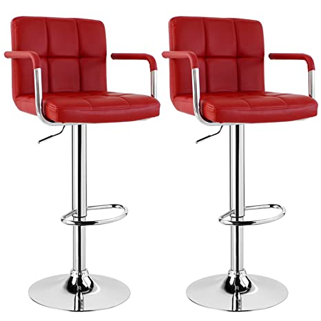 WOLTU Bar Stools Dark Red Bar Chairs Breakfast Dining Stools for Kitchen  Island Counter Bar Stools Set of 2 pcs Leatherette Exterior/Adjustable  Swivel ...