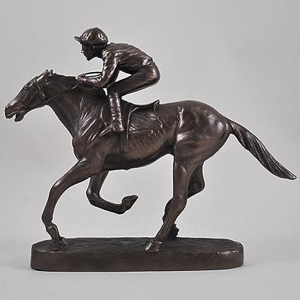 buscando posición jinete y caballo. Estatua de bronce fundido frío H27cm