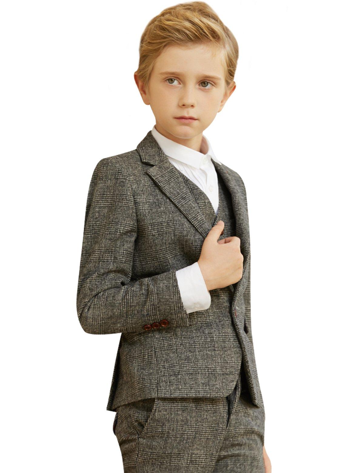 ELPA ELPA Boys Dress Suit 5 Piece Children Dress Show Casual Gray Suit