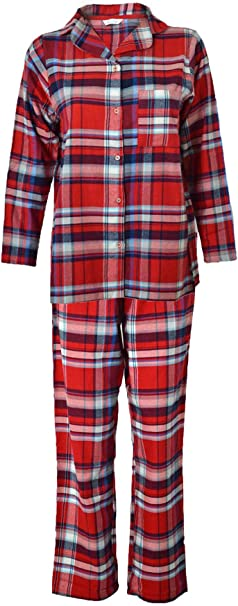 Marks /& Spencer M/&S Brushed Cotton Wynceyette Checked Check Pyjamas PJs Lounge