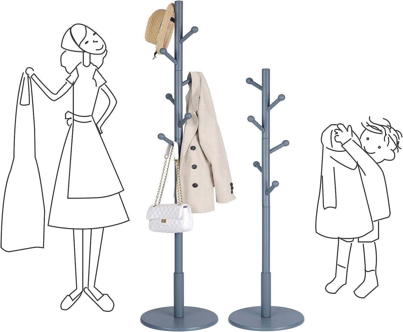 Kleiderst/änder VASAGLE Garderobenst/änder f/ür Kleidung freistehende Garderobe in Baumform Holz Flur H/üte 7 Haken mit abgerundeten Enden Wohnzimmer Taschen grau RCR007G01
