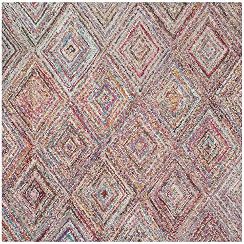 Safavieh Nantucket Collection NAN314A Handmade Abstract Geometric Diamond Multicolored Cotton Square Area Rug (8