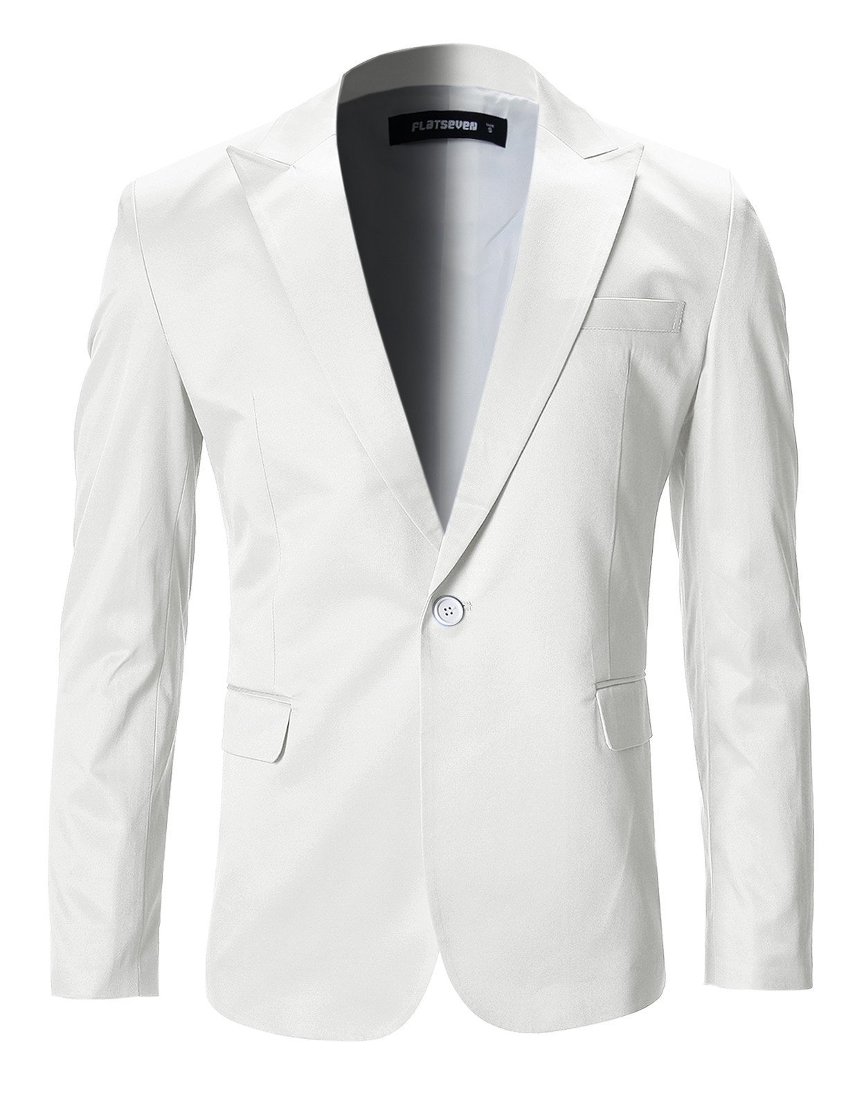 FLATSEVEN Mens Slim Fit Stylish Peaked Lapel Blazer Jacket (BJ200) White, XS
