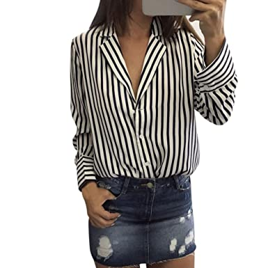 52431463497 Kangma Women Collared Long Sleeve V-Neck Striped Printed Casual Blouse  Button-Down Shirts