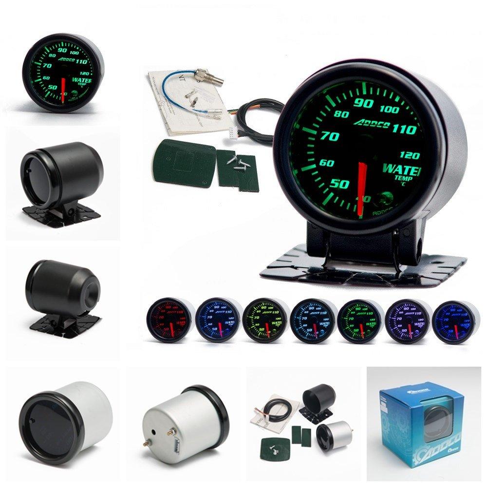 Epman AD-GA52WTA 2' 52mm 7 Color LED Smoke Face Water Temp Gauge Temperature Meter Car Gauge with Sensor and Holder YiPin