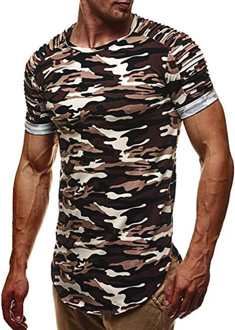 XL, Personalidad de Moda Slim Sport Blusa para Hombres Camisetas Fitness Casual de Verano LILICAT Camiseta Manga Corta Hombre Camuflaje M~3XL