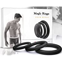 Penis Ring Set for Men - Adult Toys for Couples - Sex Enhancer Ring - Silicone Cock Rings for Longer Orgasm - Black