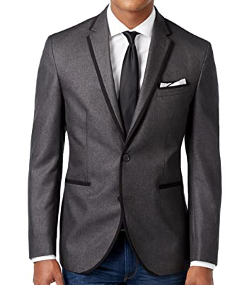 d4f519176666f Kenneth Cole Slim Fit Charcoal Textured Two Button New Men s Sport Coat ...