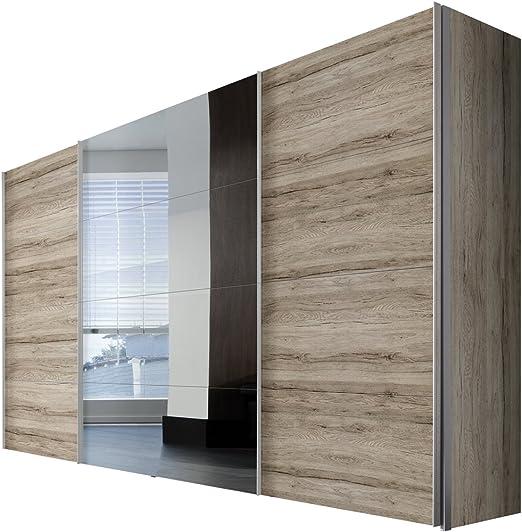 Solutions 49850 – 160 Armario de Puertas correderas (3 Puertas, Estructura y Frente a Remo de Roble Light, Espejo, Mango Listones alufarben, 68 x 350 x 216 cm: Amazon.es: Hogar