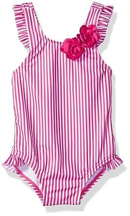 30e36bd130 Gymboree Baby Boys 1-Piece Stripe Swimsuit with Bow Accent, Fuchsia, 3-