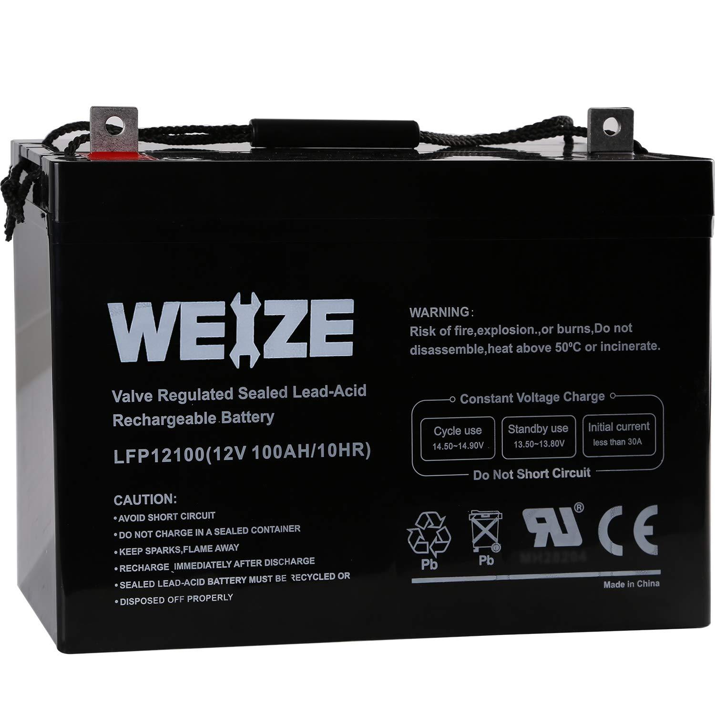 Weize 12V 100AH Deep Cycle AGM SLA VRLA Battery for Solar System RV Camping Trolling Motor, in Series 24V 48V