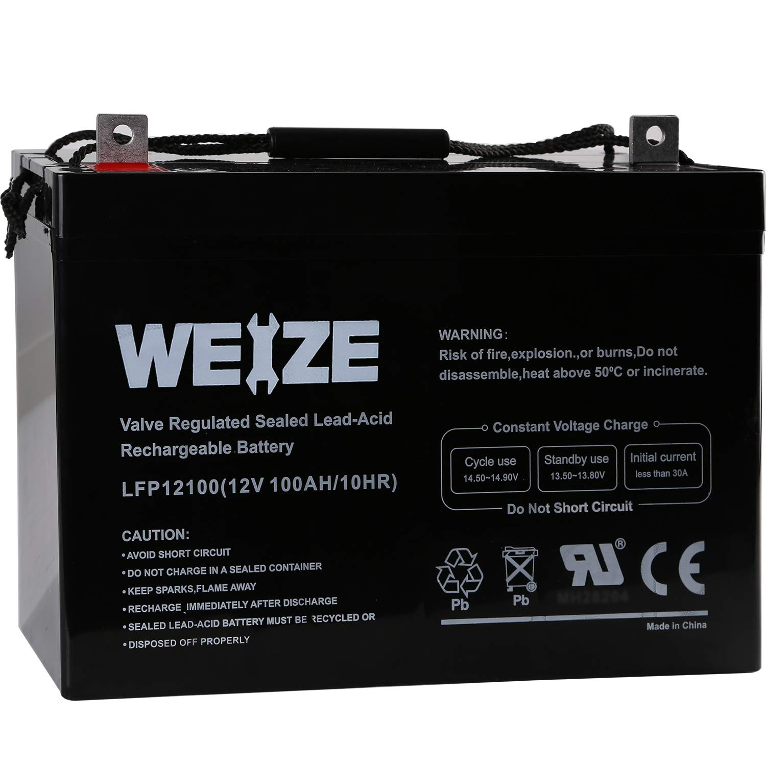 Weize 12V 100AH Deep Cycle AGM SLA VRLA Battery for Solar Wind RV in Series 24V 48V by WEIZE