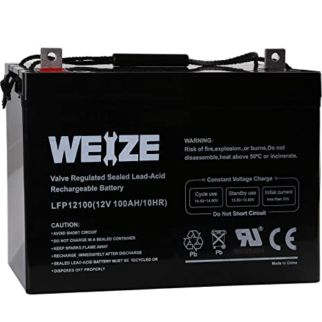 Amazon.com: Weize 12V 100AH Deep Cycle AGM SLA VRLA Battery ...