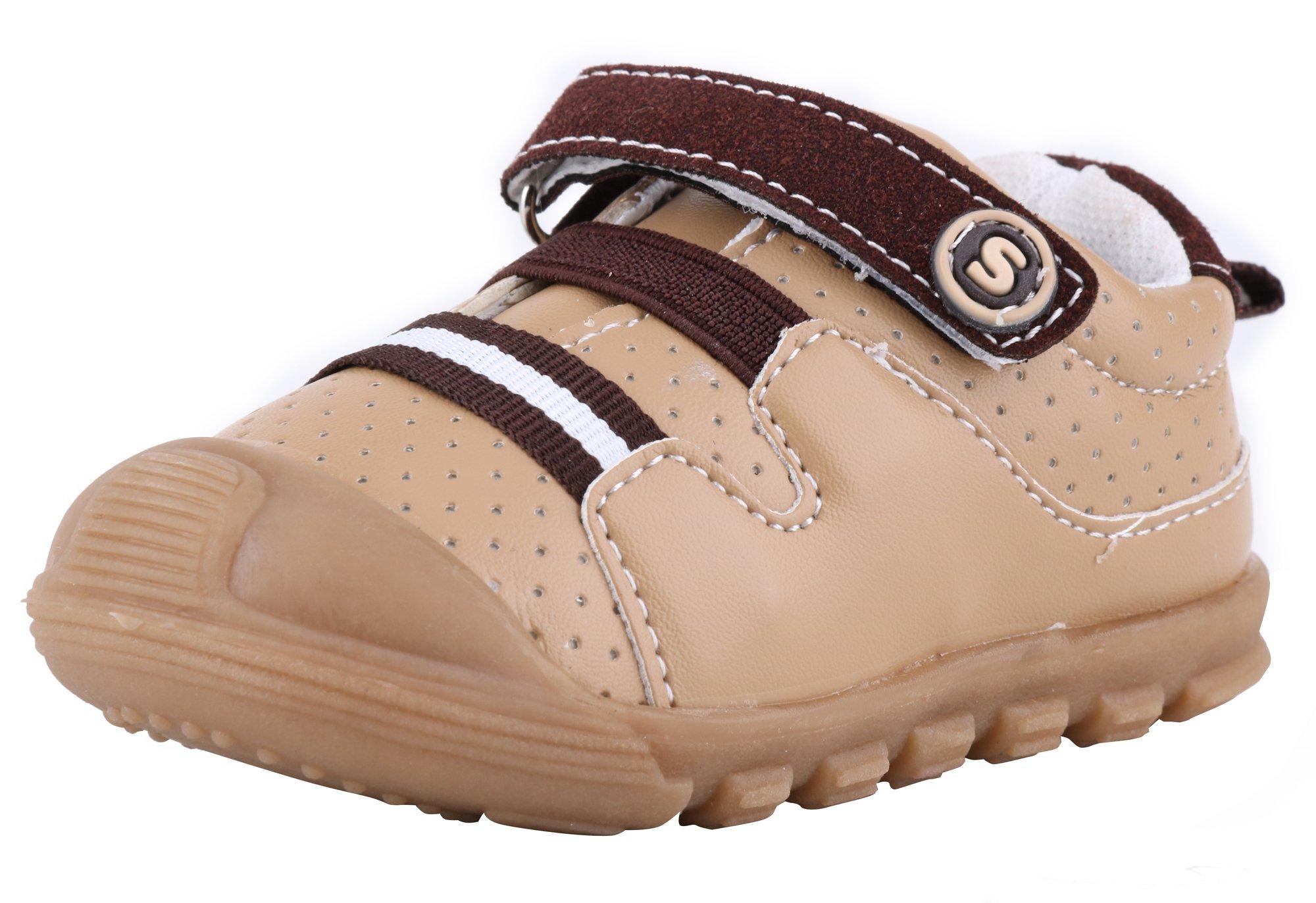 LONSOEN Baby Boys and Girls Anti-Slip Walking Shoes Toddler Athletic Sneaker BAY001 Brown CN19
