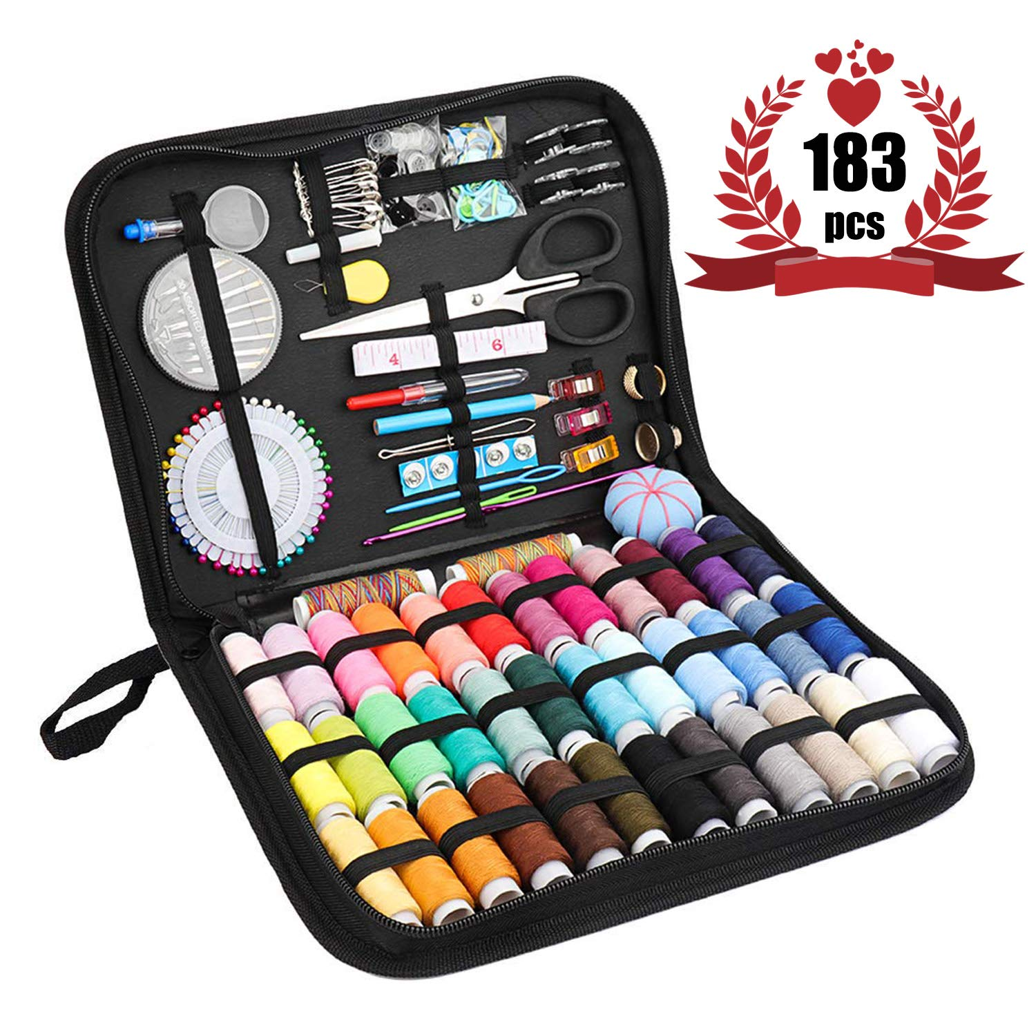 Travel Sewing Kits for Adults, Perskii Premium DIY Sewing Supplies with 183pcs Sewing Accessories, 38 XL Threads, Needles - Portable Mini Sewing Repair Kits for Traveller,Kids,Beginners, Emergency by Perskii
