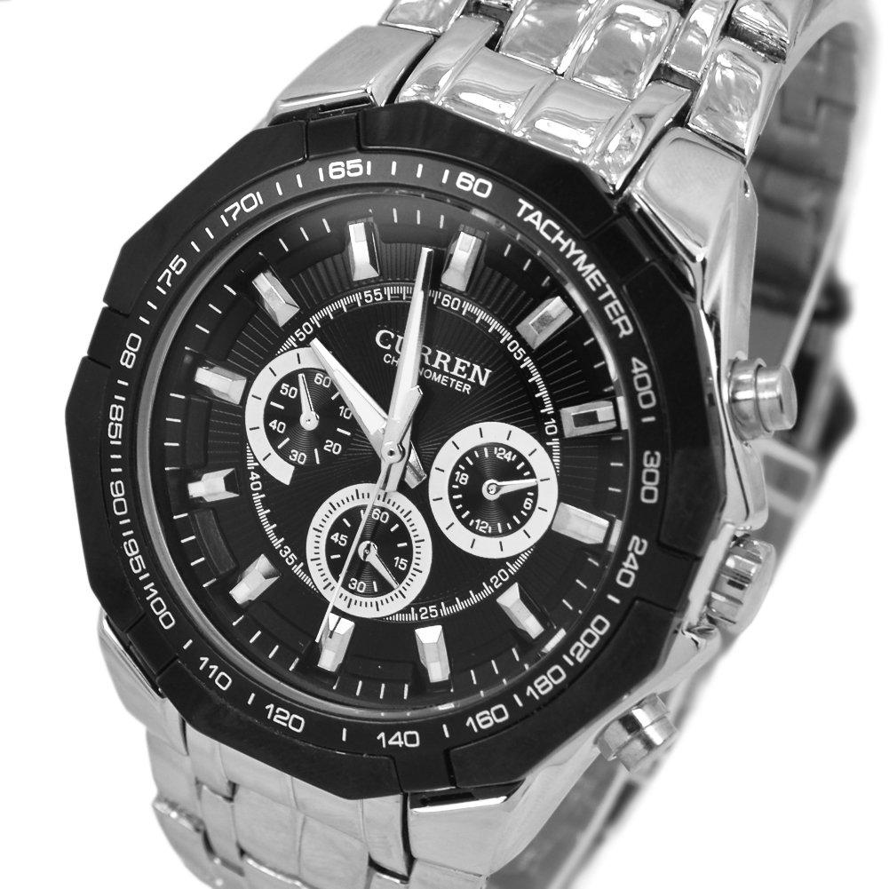 Readeel® Unique Stainless Material Black Quartz Luxury Unisex Subdial Wrist Watch