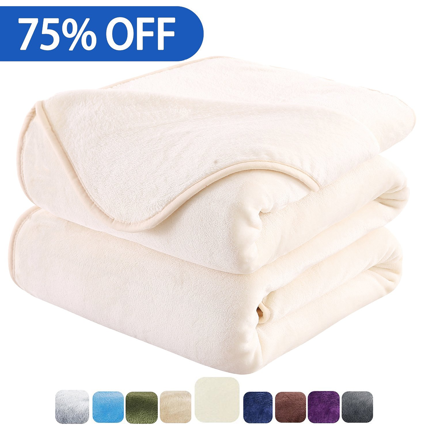 HOZY Fleece Blanket King Size Luxury Super Soft Warm Fuzzy Microplush Lightweight Hypoallergenic 350GSM Blankets For Bed Couch Sofa (King,Ivory)