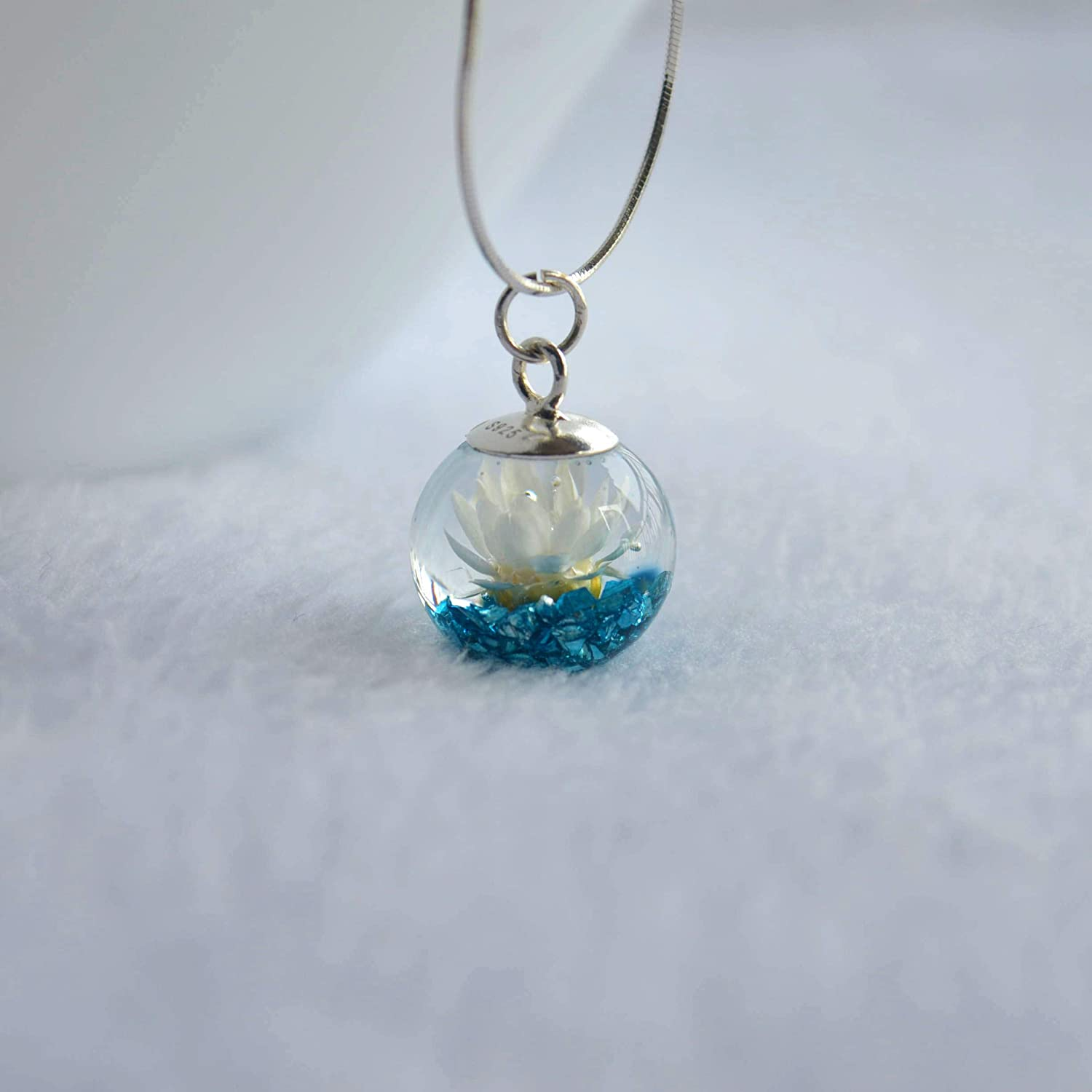 Daisy Real Flower Blue Treasure Island Mineral Glass Ball 925 Sterling Silver Snake Chain Necklace 17.7 Length