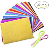 """Loves Town 20 Pcs Glitter Self Sticky Sticker Free Children Safety Scissors Self Adhesive Sticky 12"""" X 8.5"""" Back Paper Children's Craft Activities DIY Cutters Art Assorted Colors"""