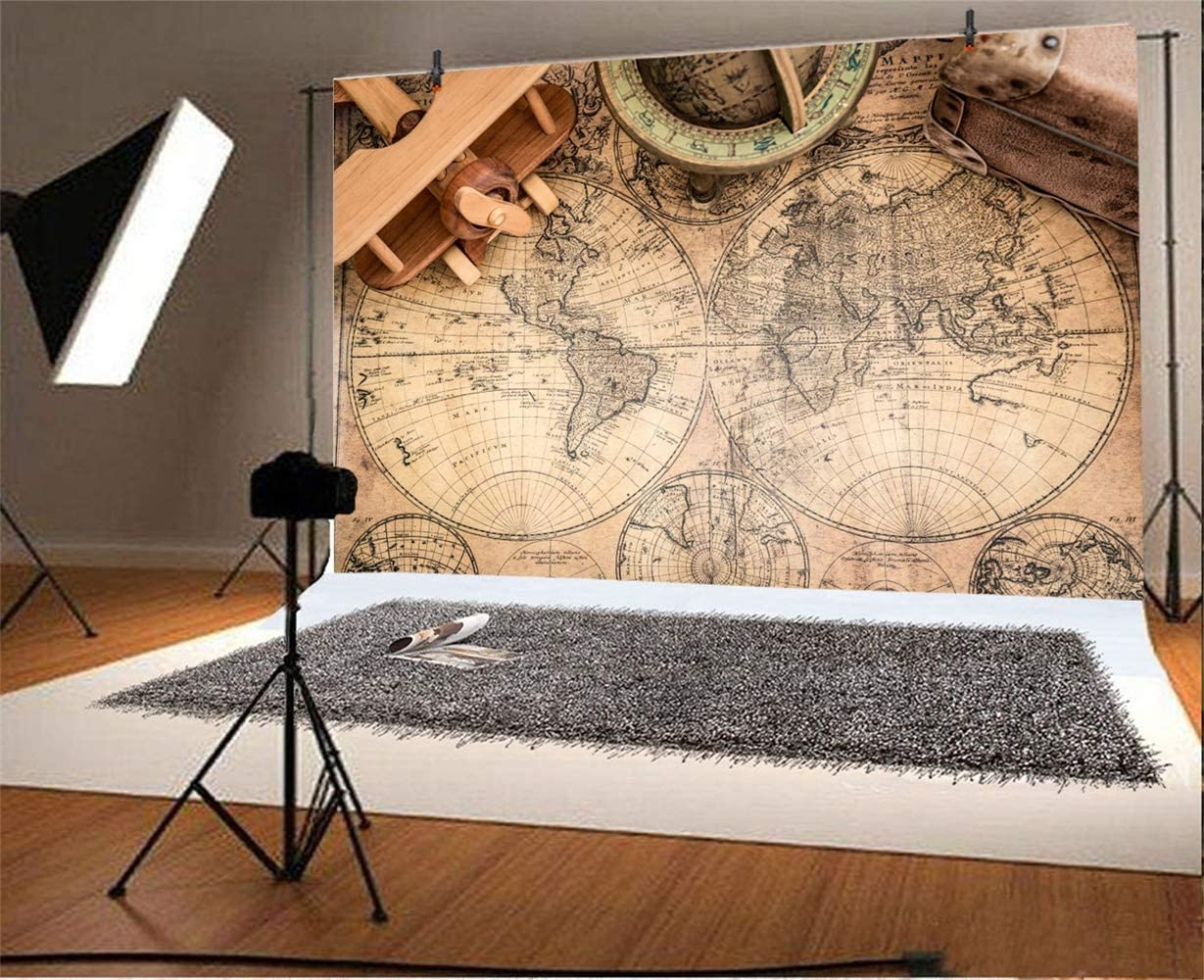 Laeacco 10x7ft Retro Northern and Southern Hemisphere Map Wooden Airplane Model Vinyl Photography Background Geologic Series Backdrop Adult Portrait Shoot Indoor Decors Wallpaper Studio Props