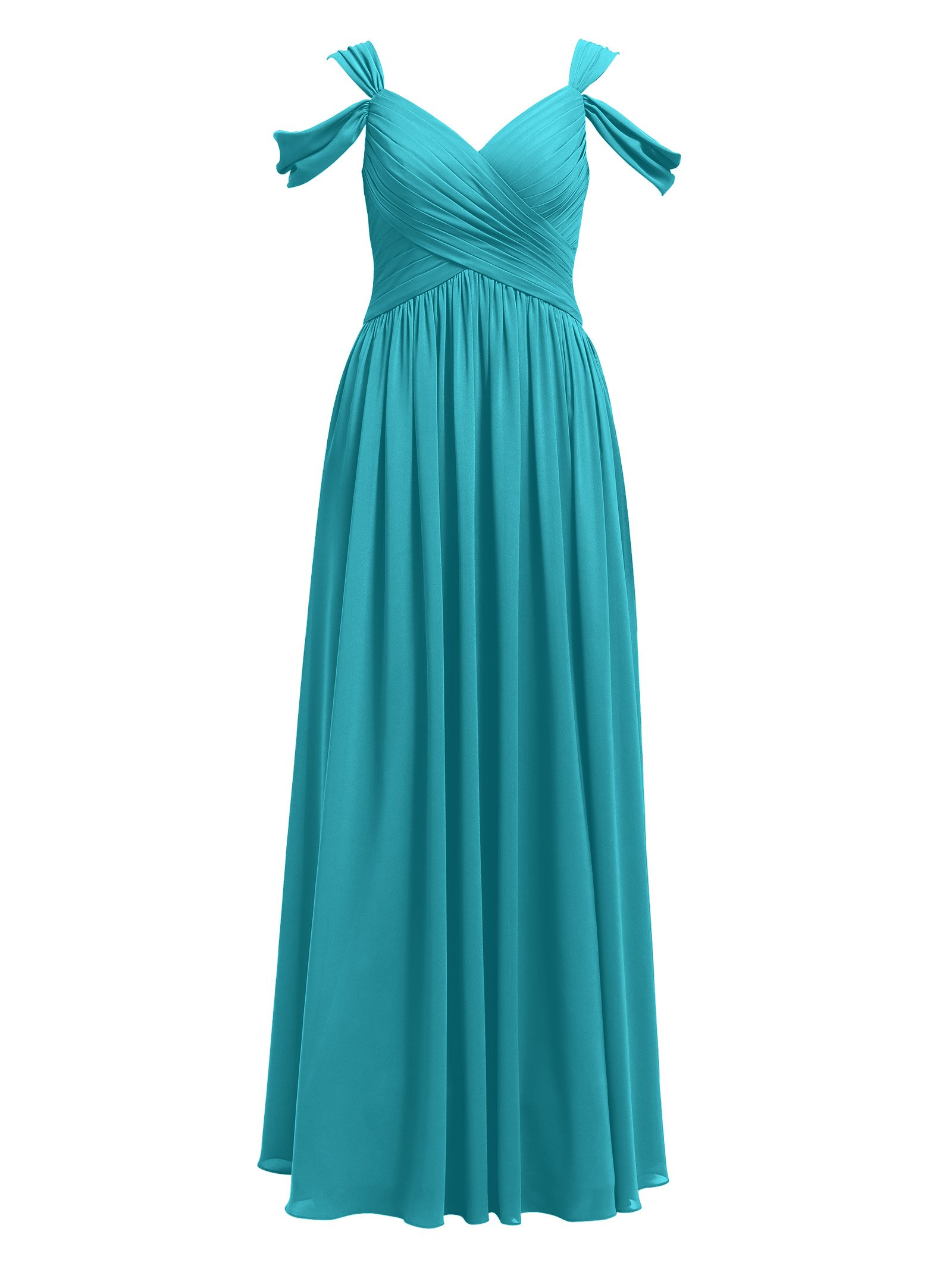 Alicepub Pleated Chiffon Maxi Plus Size Bridesmaid Dress Long Formal Event  Dress for Party, Turquoise, US18