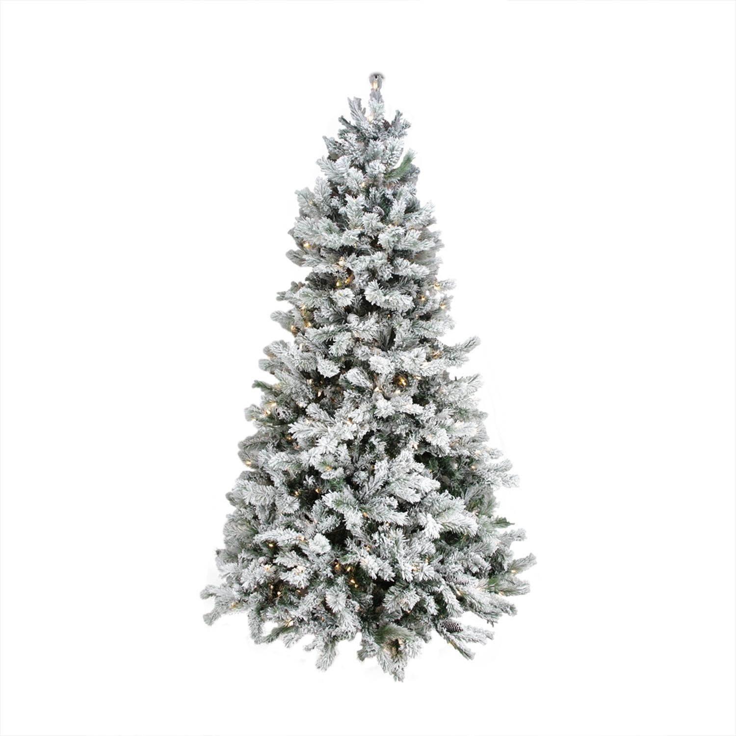 7.5' Single Plug Flocked Victoria Pine Artificial Christmas Tree - Multi-Function LED Lights
