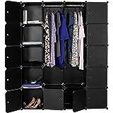 Devo Portable Wardrobe for Hanging Clothes, Cube Storage Organizer, DIY Closet Clothes Plastic Wardrobe for Space Saving (20