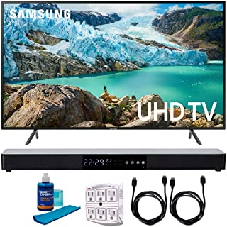 """Samsung 58"""" RU7100 LED Smart 4K UHD TV 2019 Model (UN58RU7100FXZA) with Screen Cleaner for LED TVs, SurgePro 6-Outlet Surge Adapter, 2X HDMI Cable & Home Theater 31"""" Soundbar"""