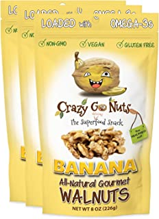 product image for Crazy Go Nuts Walnuts - Banana, 8 oz (3-Pack) - Healthy Snacks, Vegan, Gluten Free, Superfood - Natural, Non-GMO, ALA, Omega-3 Fatty Acids, Good Fats, and Antioxidants