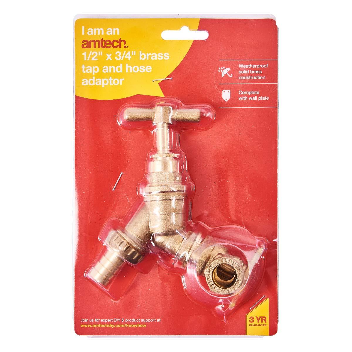 Flostream Ltd Am-Tech Robinet en laiton avec adaptateur pour flexible 13/x/19/mm