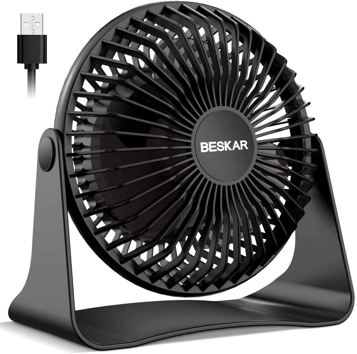 BESKAR USB Small Desk Fan, 6 Inch Portable Fans with 3 Speeds Strong Airflow, Quiet Operation and 360°Rotate, Persona Table Fan for Home,Office, Bedroom- 3.9 ft Cord