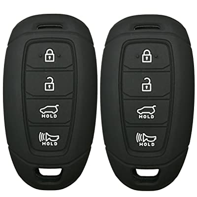 2Pcs Coolbestda Rubber 4 Buttons Key Fob Remote Cover Case Protector Keyless Jacket for Hyundai Kona Azera Grandeur IG Black: Car Electronics