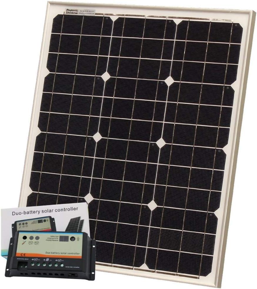 Photonic Universe - Cargador solar (40 W, 12 V, celdas Bosch, se incluyen controlador de 10 A y cable de 5 m): Amazon.es: Electrónica