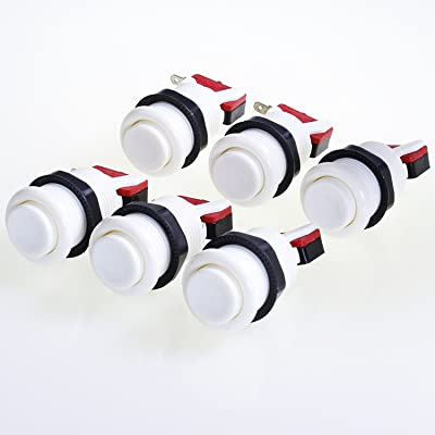 Atomic Market American Style 28mm Standard Arcade Push Button 6 Pack White with Microswitch: Toys & Games