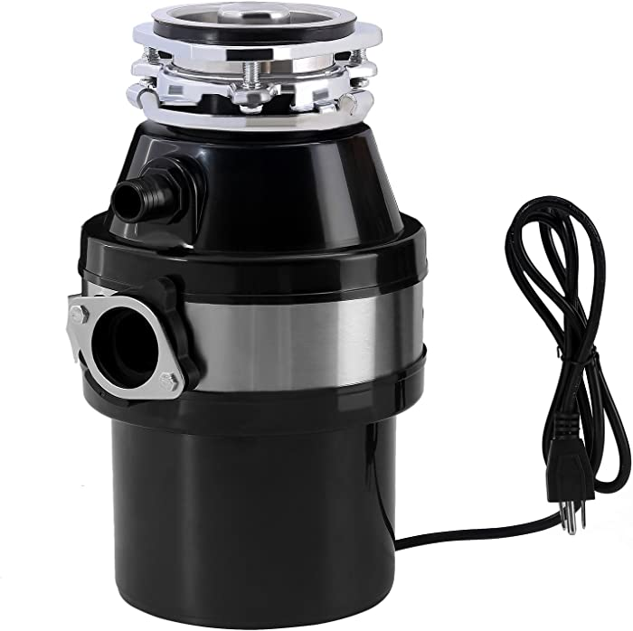 KUPPET Garbage Disposal, Garbage Disposal with 1/2 HP Household Food Waste Garbage Disposal Continuous Feed with Power Cord 3 Level of Grinding 2600 RPM (Black)
