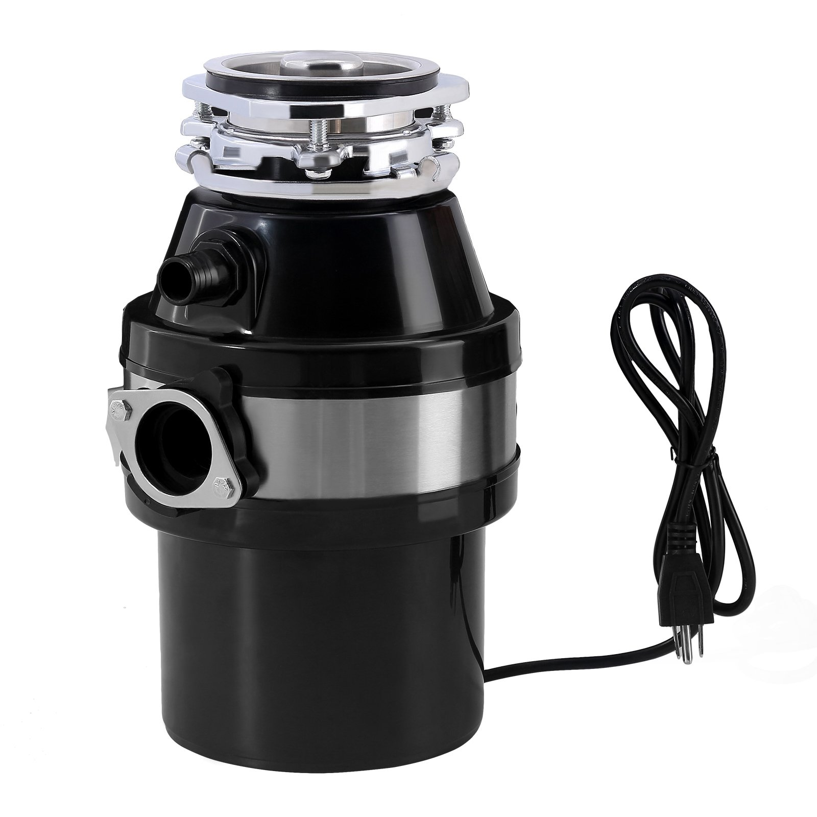 KUPPET Garbage Disposal 1 HP Household Food Waste Garbage Disposal Continuous Feed with Power Cord 3 Level of Grinding 2600 RPM Black