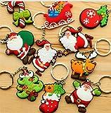 Moda linda Adornos de Navidad Stillshine - Santa Claus colgante llavero árbol de navidad llavero bolso hebilla encantos accesorios (estilo al azar) (15PCS)