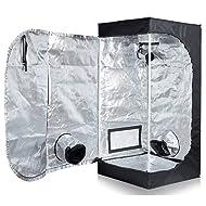 "TopoLite Full Range Multiple Sized 24""x24""x48"" Indoor Grow Tent Room 600D Mylar Hydroponic Growing Plant w/ Plastic Corner (24""X24""x48"")"