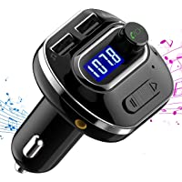 VicTsing (Upgraded Version) Bluetooth FM Transmitter for Car, Wireless Radio Adapter, Music Player Car Kit with Dual USB Charging Ports 5V/2.1A, TF Card Slot, Hands Free Calls, Aux Output and Input